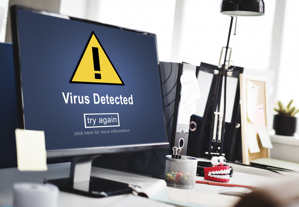 Virus Detected Alert Hacking Piracy Risk Shield Concept
